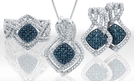 Blue and White Diamond Jewelry Set with Earrings, Pendant, and Ring (Size 7)