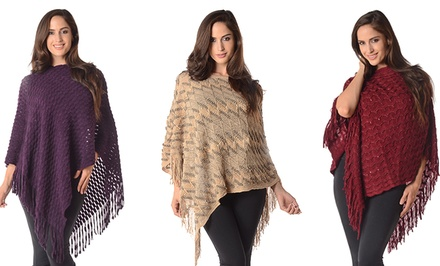 Plus-Size Fringe Hem Poncho Sweater
