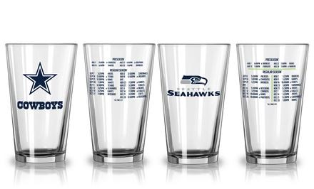 Set of 2 NFL 2014 Team Schedule Pint Glasses