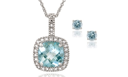 Blue Topaz and Diamond Earring and Necklace Set in Sterling Silver