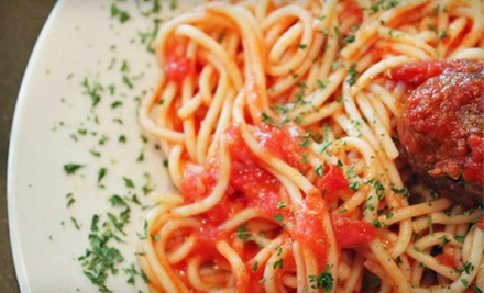 $19 for Italian Pasta Dish for Two with Garlic Bread, Soup, and Soda or Coffee at Teena Mia (Up to $38.30 Value)