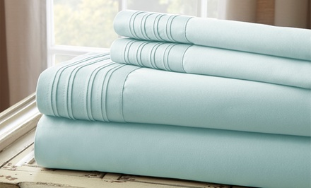 1,000TC Fine Linen Sheet Set with Pleated Hem