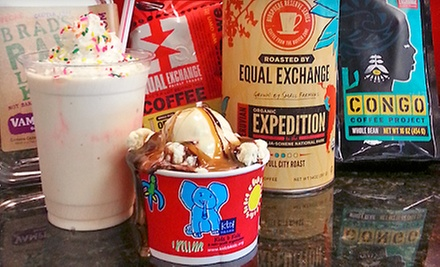$15 for $30 Worth of Organic, Fair Trade Coffee, and Locally Made Ice Cream