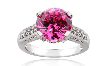 Sterling Silver with Pink and Clear Cubic Zirconia Engagement Ring