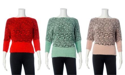 Juniors' Dolman Sleeve Eyelash Knit Sweater