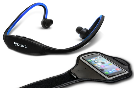 Aduro Sport Wireless Stereo Bluetooth Headset and Armband Bundle