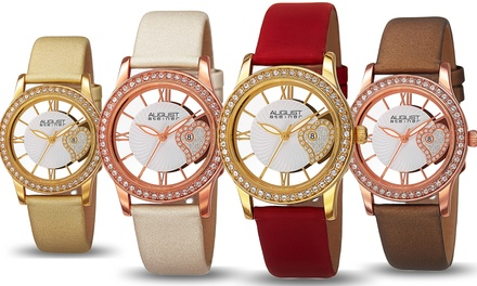 August Steiner Ladies Crystal Heart Strap Watch