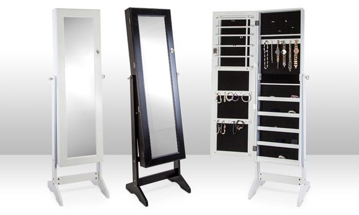 groupon goods global gmbh miroir sur pied coloris blanc ou noir avec armoire bijoux int gr e. Black Bedroom Furniture Sets. Home Design Ideas