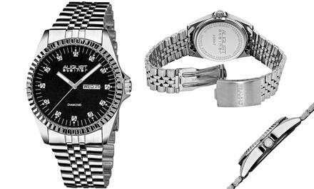 August Steiner Men's Diamond Dial Bracelet Watch
