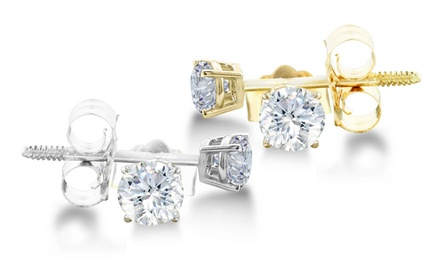 groupon daily deal - 1/4 CTTW Diamond Stud Earrings in 14-Karat White or Yellow Gold