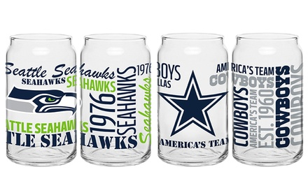 2-Pack of NFL Glass Cans