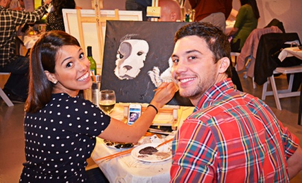 A Couple and A Canvas Painting Workshop for One or Two Couples with Buffet and Wine at Blue Mark Studios (Up to 62% Off)