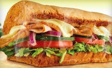Meal for Two with Footlong Subs, Chips and Drinks or Five Footlong Subs at Subway (Up to 59% Off)