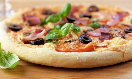 Specialty Pizzas, Garlic Knots, and Wings at Abruzzi Pizza & Cafe (Up to 45% Off). Three Options Available.
