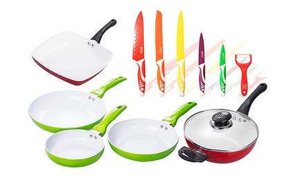 Conjunto de cozinha Rainbow com frigideiras e facas por 54,95€