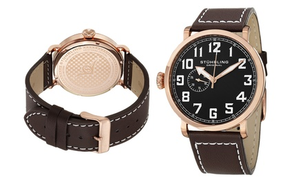 Stührling Men's Left-Handed Leather Watch