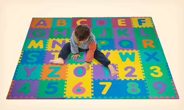 96 Piece Foam Alphabet And Number Puzzle Floor Mat For