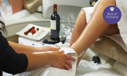 Valentine's Spa Day Package with Chocolate, Champagne, Hot Stones and Foot Massage at Comma Vino Spa (50% Off)