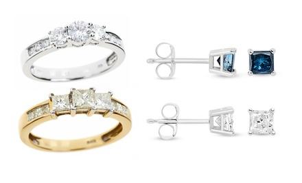 0.5 or 1 CTTW Diamond Earrings or Rings from $135.99—$424.99