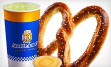 Five Soft Pretzels, or Meal for Two with Two Pretzels, Pretzel Dogs, Dips, and Drinks at Auntie Anne's (Up to 58% Off)