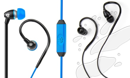 JBuds FIT Sport Water-Resistant Earbuds with Customizable Ear Hooks