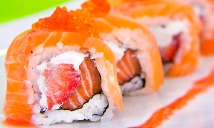 SushiCorner Chiado by SushiCafé: menu Super Salmon com 20 peças sushi to sashimi e sopa de miso ou bebida por 9,90€