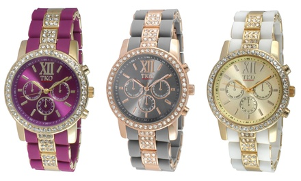 TKO Women's Silicone and Metal Link Watch with Crystals