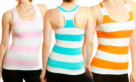 6-Pack of Ladies' Seamless Striped Tanks