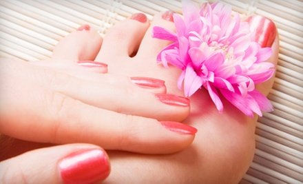 Spa or Shellac Mani-Pedi with Wine at Glo Beauty Bar (Up to 55% Off)