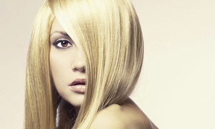 Single-Process Color or Highlights with Clear Glaze and Blowout at Cactus Salon & Spa (Up to 65% Off)