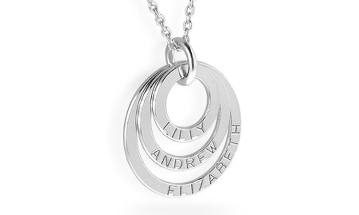 Silvexcraft Design: Sterling Silver Personalised Triple Ring Necklace for £14.99 With Free Delivery (79% Off)