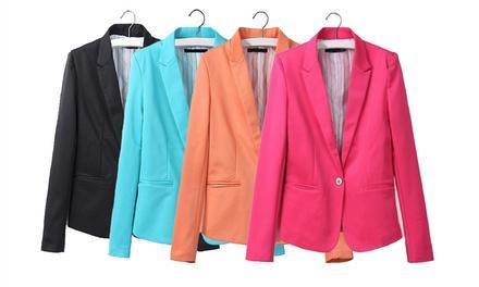 Blazer feminino disponível em preto, azul, laranja e rosa por 18,90€