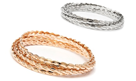 Silver- or Gold-Tone Bangle Set