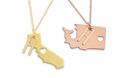 Sterling-Silver State Necklace with Optional Personalized Initial Charm from Monogram Online (Up to 66% Off)