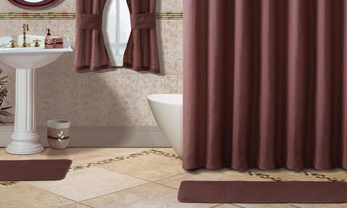 15 Piece Bath Set And 2 Bonus Window Curtains Groupon