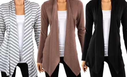 Hacci Solid or Striped Draped Cardigan