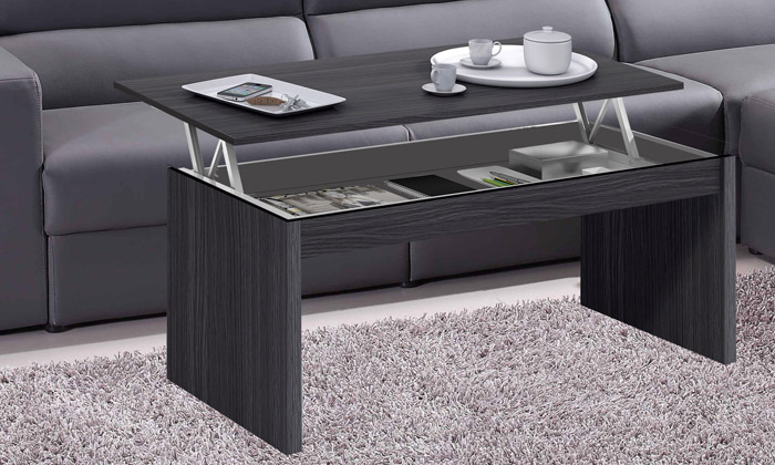 Table basse avec plateau relevable groupon shopping for Table laque 8 places