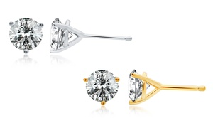 1.50 Or 2.00 Cttw Certified Diamond Stud Earrings In 14k White Or Yellow Gold From $999.99–$1,599.99