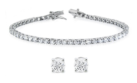 Solitaire Stud Earrings and Tennis Bracelet Set with Swarovski Elements Crystals