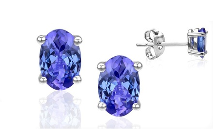 1CTTW Tanzanite Oval Stud Earrings