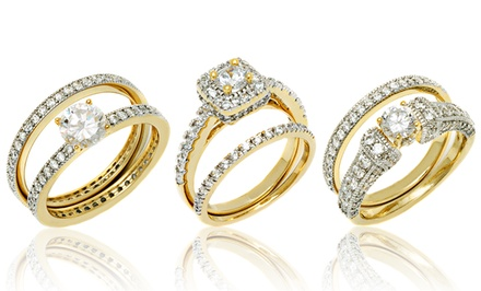18K Gold-Plated Cubic Zirconia Band and Ring Sets