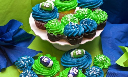 Regular-Size or Mini Cupcakes with Option for Seahawks Colors at Confetti Cupcakes (Up to 46% Off)