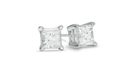1.5 CTTW Princess-Cut Certified Diamond Stud Earrings in 14K White or Yellow Gold