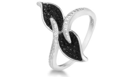 0.02 CTTW Black- and White-Diamond Pavé Leaf Cocktail Ring