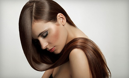 Keratin Treatment with Style, or Cut, Style, and Deep Conditioning at Requel Anthonys Grand Salon (Up to 53% Off)