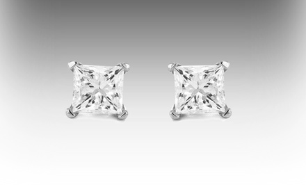1-Carat Diamond-Stud Earrings in 14-Karat White Gold.