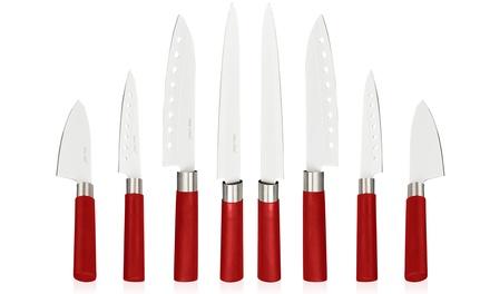 Conjunto de oito facas de cozinha profissionais com revestimento de cerâmica por 29,99€