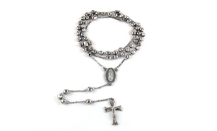 18K White Gold-Plated Rosary