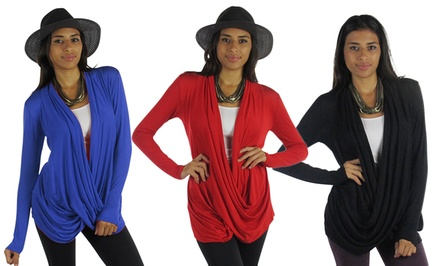 Free to Live Women's Crisscross Draped Cardigan