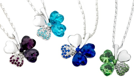 Clover Necklace with Swarovski Elements. Multiple Colors Available. Free Returns.